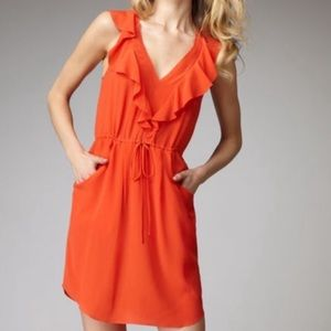 Rebecca Taylor Pink Silk Dress with Ruffle…